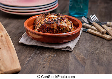 Roast pork in a bowl ready to be served