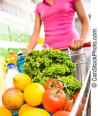 compras, carrito, llenado, con, vegetales, y, fruta,