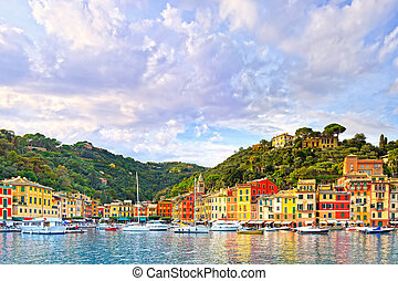 Portofino luxury village landmark, panorama view Liguria,...