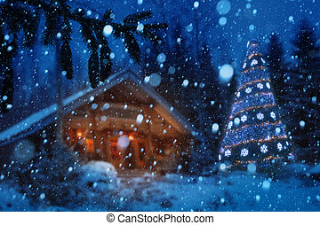 Christmas winter night background