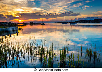 Sunset over the Folly River, in Folly Beach, South Carolina