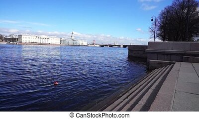 Saint Petersburg waterscape with Neva river embankment -...