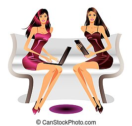 Two fashion models with laptop and tablet - vector...