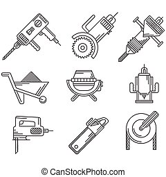 Black outline vector icons for construction equipment