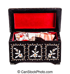 Memories in the box - an old romanian black wooden box with...