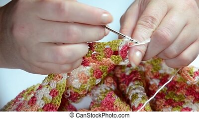 Woman crochet knitting