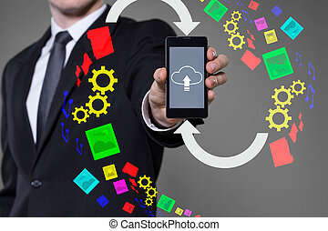 Cloud computing - Icon of cloud computing on smartphone's...