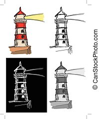 lighthouse - Editable vector illustrations in variations,...