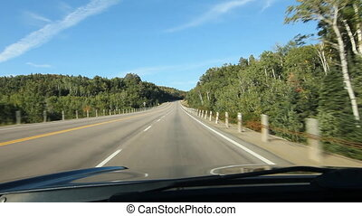 Lake Superior highway. Ontario. - Driving on the trans...