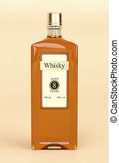 Whisky bottle on brown background