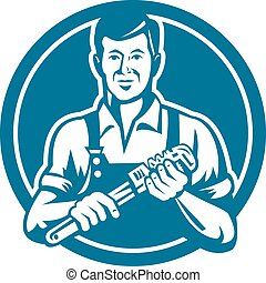 Plumber Holding Wrench Circle Retro - Illustration of a...