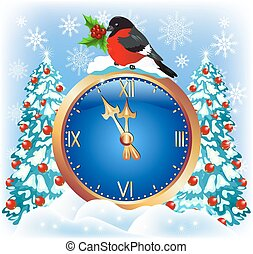 Christmas chimes with bullfinch - Christmas chimes with...