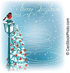 Christmas vintage streetlamps and fur trees - Christmas...