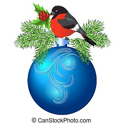 Christmas blue ball with bullfinch and spruce isolated on...