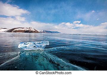 ice floe - Ice floe on the ice field. Winter Baikal