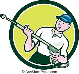 Pressure Washer Water Blaster Circle Cartoon - Illustration...
