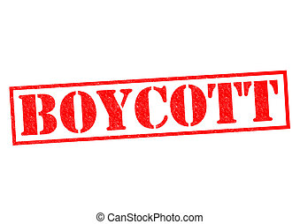 BOYCOTT red Rubber Stamp over a white background.