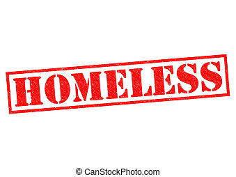 HOMELESS red Rubber Stamp over a white background