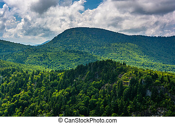 View of distant mountains from Devils Courthouse, near the...
