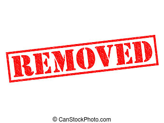 REMOVED red Rubber Stamp over a white background