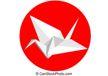 Origami Swan - A White origami swan on red background