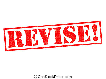 REVISE red Rubber Stamp over a white background
