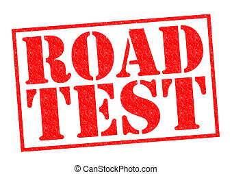 ROAD TEST red Rubber Stamp over a white background.