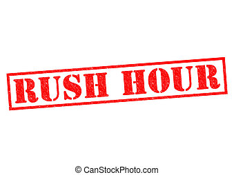 RUSH HOUR red Rubber Stamp over a white background.