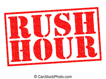 RUSH HOUR red Rubber Stamp over a white background