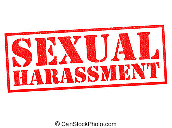 SEXUAL HARASSMENT red Rubber Stamp over a white background.