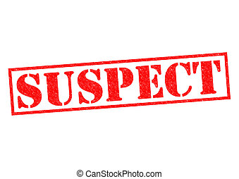 SUSPECT red Rubber Stamp over a white background