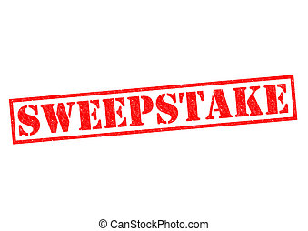 SWEEPSTAKE red Rubber Stamp over a white background.