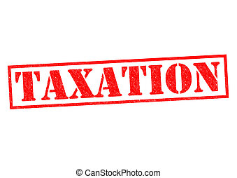 TAXATION red Rubber Stamp over a white background