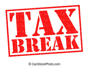 TAX BREAK red Rubber Stamp over a white background.