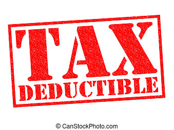 TAX DEDUCTIBLE red Rubber Stamp over a white background