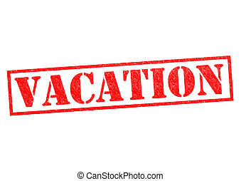 VACATION red Rubber Stamp over a white background