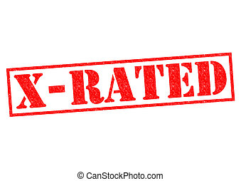 X-RATED red Rubber Stamp over a white background
