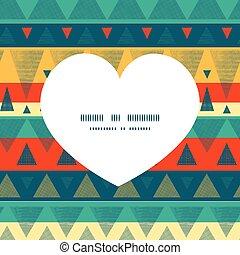 Vector vibrant ikat stripes heart silhouette pattern frame...