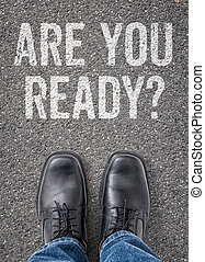 Text on the floor - Are you ready
