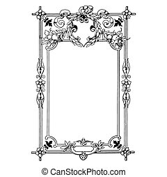Vintage frame - Floral vintage frame, header and label with...