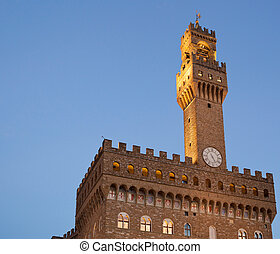 Old Palace at evening, Florence - The Palazzo Vecchio (Old...