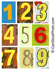 Number one ot nine - Collection of different yellow colors...