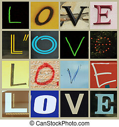 Love - Four letters forming the word love in different...