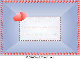 Envelope in love with hearts and a frame for your text,...