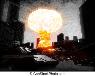 armageddon - 3d rendered illustration of an atom explosion