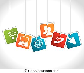 Social media design, vector illustration - Social media...