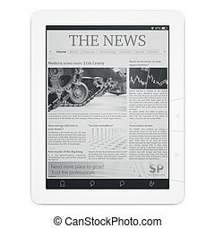 E-reader with newspaper application isolated on white top...
