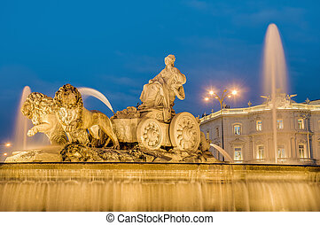 Cibeles Fountain at Madrid, Spain - Cibeles Fountain located...