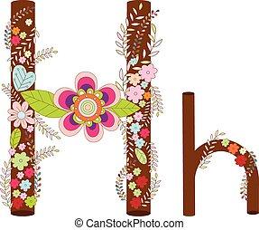 H Alphabet Flower Font Vector