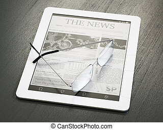 E-reader with newspaper application and glasses